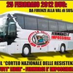 pullman per la manifestazione in Val di Susa del 25 febbraio