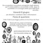 Venerdì 8 Giugno: Festa di quartiere al Sodo